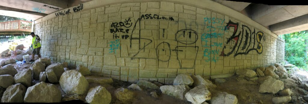 2019 Crockery Creek Cleanup - Grafitti under bridge at Thatcher Park
